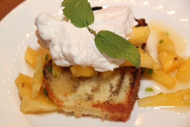 GRILLED POUND CAKE  WITH  PINEAPPLE SALSA AND TEQUILA WHIPPED CREAM